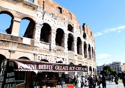 I love the juxtaposition of the ancient ruins of the Colosseum and the gelato stand for the tourists out front.