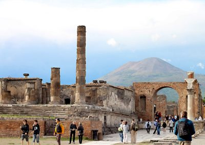 The ruins of Pompeii in the shadow of Vesuvius.