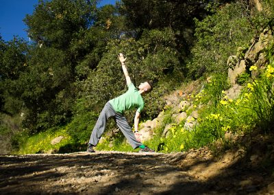 Triangle Pose on the Path.