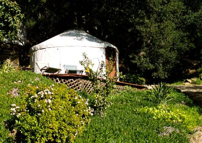 The Yurt near the top of the hill surrounded by another amazing garden.