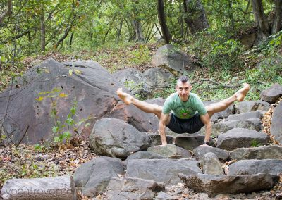 Tittibhasana on the rock stairs