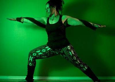 Virabhadrasana 2. Glo is a strong warrior; grounded and strong, planted into the earth.