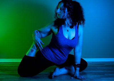 Water can flow delicately. It can also have great power. As Glo moves toward Mermaid Pose she must balance this shifting element.