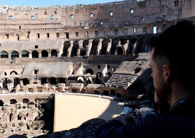 Mike looks on. Imagine gladiators fighting on that stage.
