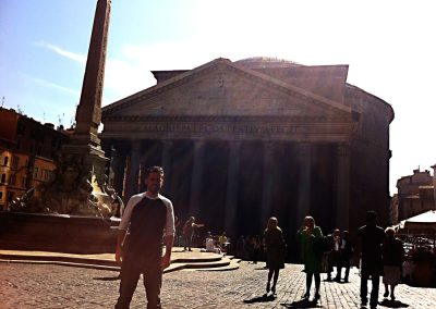 Another iPhone shot. Mike at the Pantheon. I love the light glowing from atop the dome.