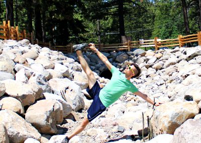Side Plank Pose at Lake Tahoe. My settings and setup, Erin's trigger finger.