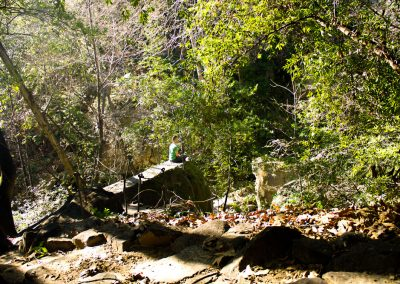 One of my favorite spots. This large rock sticks out over the creek and has a great view of the waterfall.