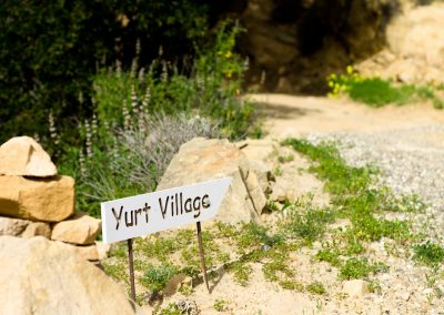 I stayed in the Yurt Village. This sign helps point the way home.