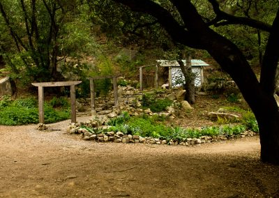 The path up to the shower houses creates a great backdrop for the Yurt Village.