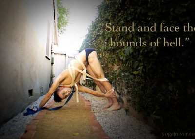 This quote is from one of my favorite spooky songs. None other than Michael Jackson's Thriller. Hounds of hell . . . how about a creepy Downward Facing Dog chained by Yoga straps?